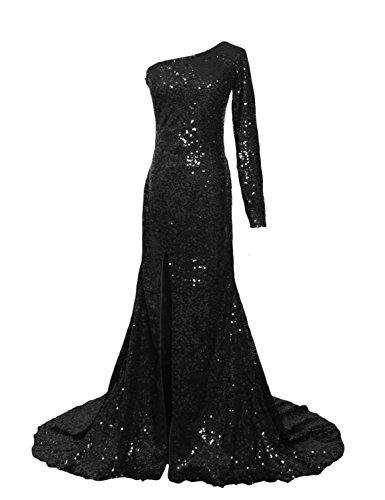 - Women's Long Sleeve Sequin Dress Side Split One Shoulder Mermaid Evening Gowns Black Size 2