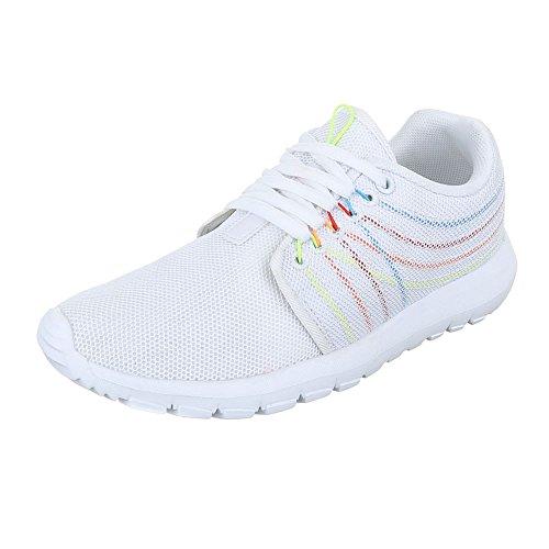 Ital-Design Low-Top Sneaker Damenschuhe Low-Top Sneakers Schnürsenkel Freizeitschuhe Weiß S38005