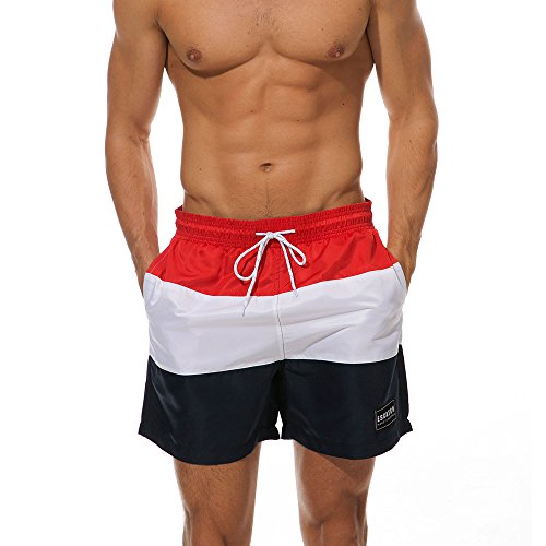 5102c35dda76f ... JJLIKER Men Striped Elastic Waist Drawstring Shorts Causal Beach Shorts  Lightweight Slim Fit Summer Pants swith ...
