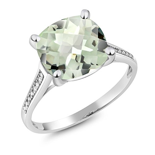 Genuine Checkerboard Green (10K White Gold 3.33 Ct Cushion Checkerboard Green Amethyst Diamond Ring (Size 7))