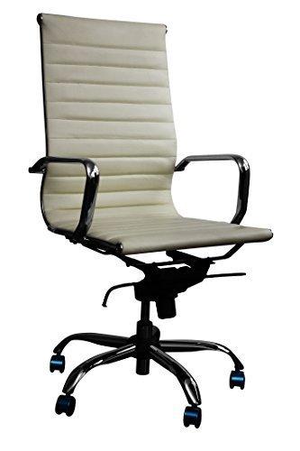 Bürostuhl Schreibtischstuhl Drehstuhl Chefsessel Echtleder Alpha Elegance cremeweiß
