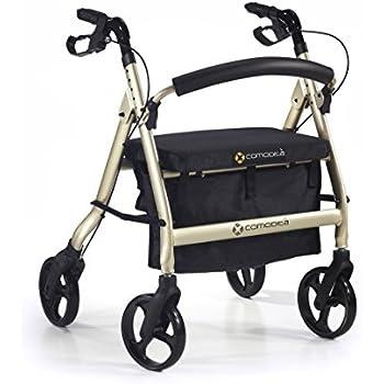"Comodità Spazio Extra Wide Heavy-Duty Rollator Walker with Comfortable 18"" Wide Nylon Seat - 440 lb Weight Capacity (Metallic Champagne)"