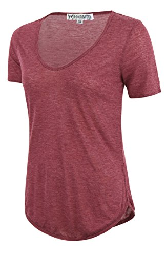HARBETH Women's Basic Fitted Soft Breathable S/S Deep V Neck T Shirt Red Size S (T-shirt Quality Red Women)