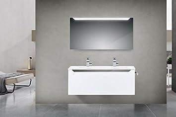 Badezimmermöbel doppelwaschbecken grau  Intarbad Design Badmöbel Set mit 120 cm Doppelwaschtisch, Grau ...