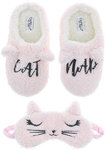 (Capelli New York Ladies Eye Mask and Scuff Slipper Set with Cat Nap Embroidery Detail Pink Combo)