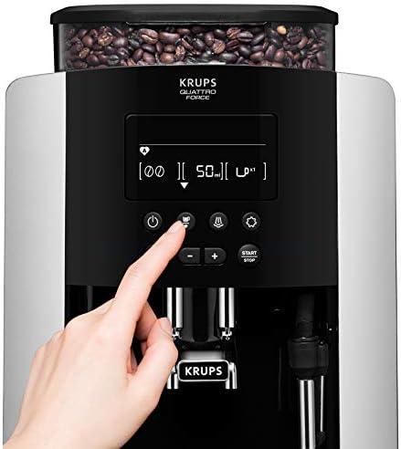 Krups EA817810 Machine expresso entièrement automatique 1,7 l; 2 tasses; noire et argent, moulin intégré, 1450 W.