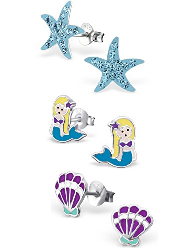 925 Sterling Silver Set of 3 Pairs Blue Crystal Starfish, Mermaid, Purple Seashell Stud Earrings for Girls and Womens (Nickel Free) 20509