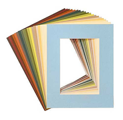 (Golden State Art, Pack of 25, Acid-Free Mixed Colors Pre-Cut 8x10 Picture Mat for 5x7 Photo with White Core Bevel Cut Frame Mattes)