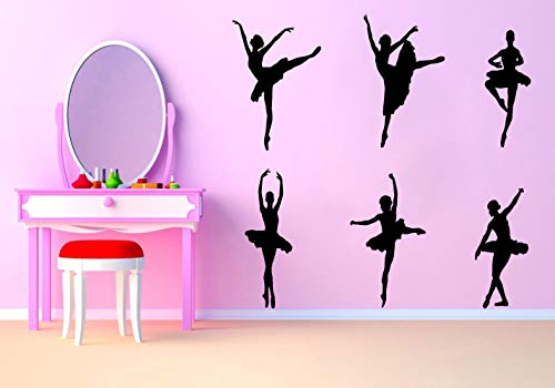 Ballet Wall Art Decal Removable Dancing Ballet Girls Wall Sticker Dancing Room Women Bedroom Ballerina Vinyl Wall Decals,Black