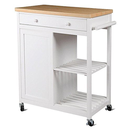 Yaheetech Kitchen Island Hollow Cart Wood Kitchen Trolley Cart Storage Drawers Dining Portable Stand ()