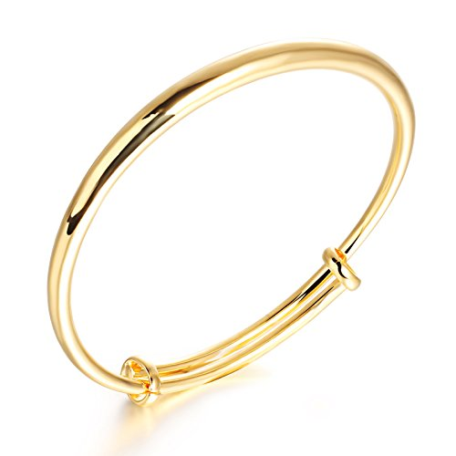 Girl Era 18K Elegant Simple Polished Bangle Bracelet Circle Charms Gold Braelets