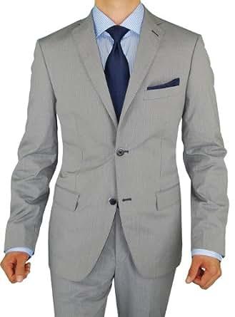 Bianco B Men's Suit Two Button Modern Fit Jacket 2 Piece Suit Gray Blue Check (42 Regular US / 52 Regular EU, Gray Blue Check)