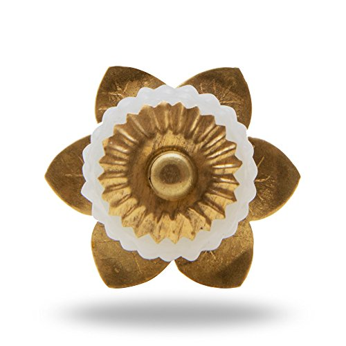 Glass Berry Knob with Brass Flower Milk By Trinca-Ferro