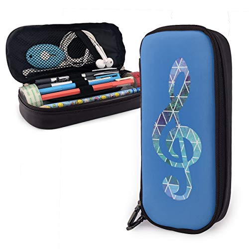 Pencil Case Music Notation Big Capacity Leather Pencil Bag Durable Students Stationery Zipper for School/Office