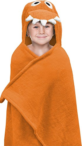 "Hooded Towel For Kids, Oversize Cotton Character Hood Towel – Makes Getting Dry Fun – Ideal Beach Towels for Toddlers & Small Children – Use at the Pool or Bath Time, 26 x 45"", Dino"