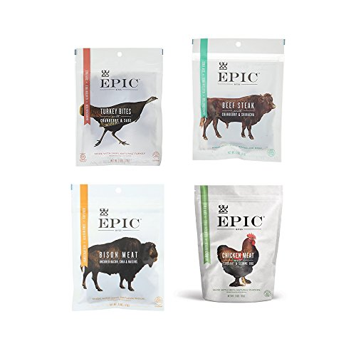 Epic Jerky Bites Bison Meat, Beef Steak,Chicken Meat, Turkey Meat (2.5 Ounces Each) - Pack of 8 -