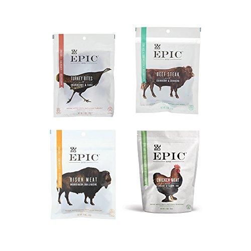 Epic Jerky Bites Bison Meat, Beef Steak,Chicken Meat, Turkey Meat (2.5 Ounces Each) - Pack of 4 -