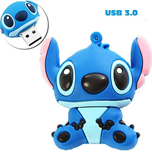 PORTWORLD 32GB USB 3.0 Flash Drive Memory Stick with Keychain Cute Cartoon Stitch Blue -