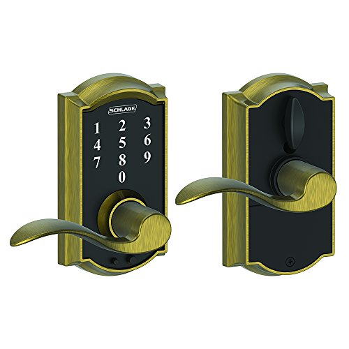 Schlage Touch Camelot Lock with Accent Lever (Antique Brass) FE695 CAM 609 ACC