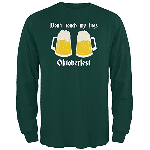 (Old Glory Oktoberfest Dont Touch My Jugs German Beer Stein Mens Long Sleeve T Shirt Forest Green 2XL)