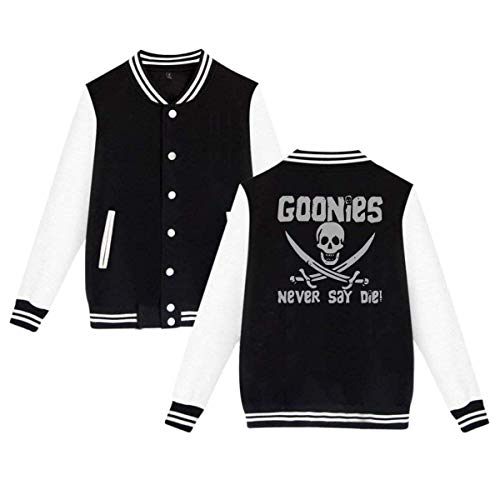 RS-pthr Goonies Never Say Die Mens & Womens Fashion Hoodie Baseball Uniform Jacket Sport Coat Black