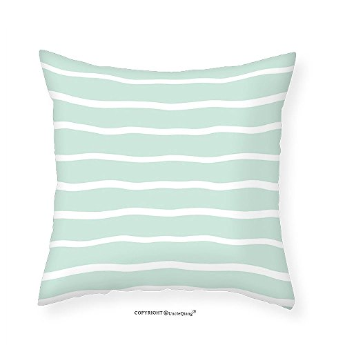 VROSELV Custom Cotton Linen Pillowcase Mint Horizontal Wavy Lined Color Striped Soft Toned Nautical Art Display for Bedroom Living Room Dorm Almond Green White 24