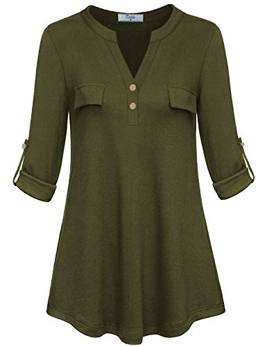 Cestyle Tunic Shirts for Women to wear with Leggings,Ladies Fashion 3/4 Sleeve Split Neck Peasant Blouses Female Curved Hem Elegant Button Embellished Tops Business Casual Clothes Army Green X-Large