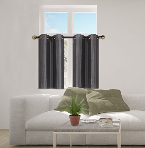"""GorgeousHome (D24) 1pc Small Grommet Panel Window Curtain Foam Lined Room Darkening Drape Treatment Size 30"""" X 36"""" each in Many Solid Colors (CHARCOAL)"""