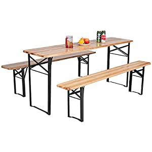 3 pieces Outdoor Wood Picnic Table Beer Bench Top Patio Dining Set Folding Wooden