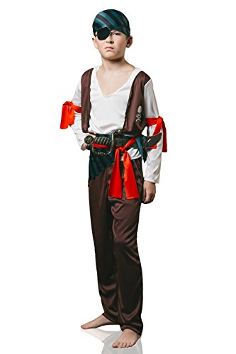 Kids Boys High Seas Pirate Halloween Costume Rogue Buccaneer Dress Up & Role Play (6-8 years, brown, white, red)