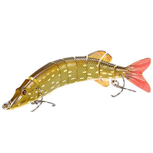 - Lixada Fishing Lures 8 Segment Lifelike Swimbait 20cm/8in 66g Multi Jointed Artificial Bait Hard Bait Crankbait Treble Hooks for Bass Perch Trout, 8 Colors