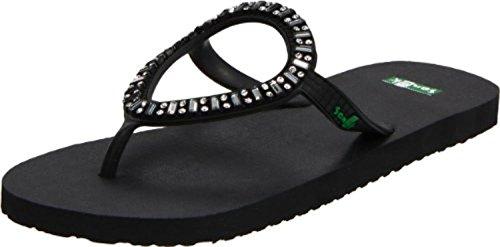Sanuk Women's Ibiza Monaco Sandals Black 7 & Oxy Shoe Cleaner Bundle ()