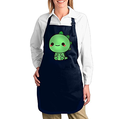 Super Barista Costume (Dogquxio Kawaii Dinosaur Kitchen Helper Professional Bib Apron With 2 Pockets For Women Men Adults Navy)