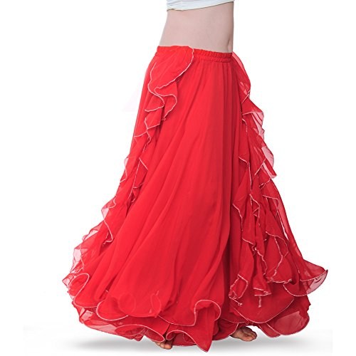 ROYAL SMEELA Women's Belly Dance Chiffon Skirt ATS Voile Maxi Full Dress Bellydance Skirts Red One Size -