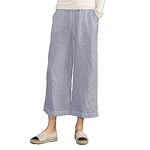 MOCOTONO Women's Plus Size Elastic Waist Wide Leg Linen Cropped Pants Grey Large