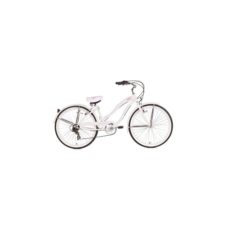 Micargi Rover 7 Speed Beach Cruiser Bike, White, 26 Inch