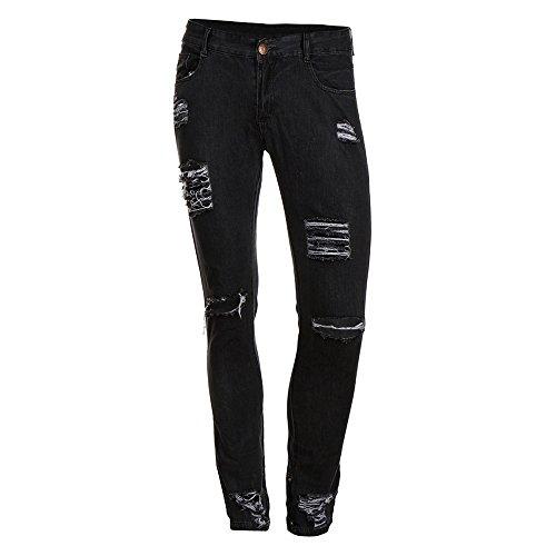 Skinny Da Denim Pants Slim Tasche Pantaloni Grigio Con Scuro Moda Fit Ginli Casual Jeans Uomo Strappati Distrutto T5BBwq