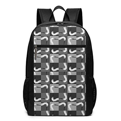 Egret Head Lightweight Laptop Backpack for College School Black 17 Inch Classic Casual Daypack for Outdoor Hiking Camping Trekking Hunting