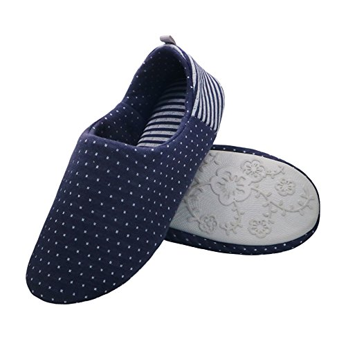 - bestfur Women's Comfortable Breathable Cotton Waterproof Yoga House Slippers Shoes Navy M(6.5-7.5 US)