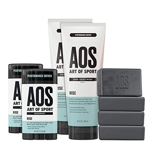Anti Perspirant Alcohol Free Gel - Art of Sport Athlete Collection, Rise Scent, 8pc Skin and Body Care Set with Aluminum-Free Deodorant, Hair and Body Wash, and Body Bar Soap