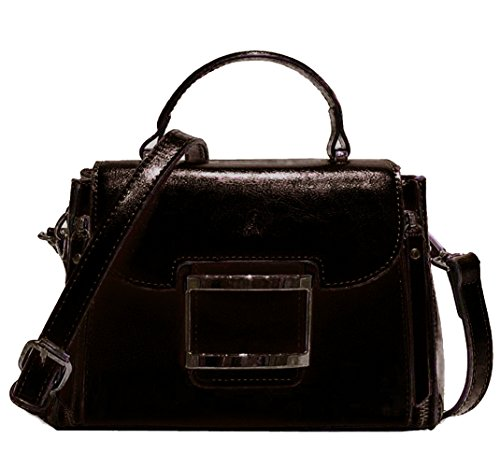Hopeeye Woman Trends en peau de vache Sac à dos Sac à main Messenger Bag Cuir élégant (marron) 3-noir