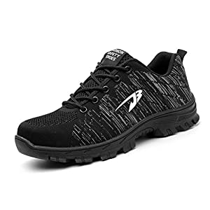 XIPAI Mens Work Safety Shoes Puncture Proof Steel Toe Industrial&Construction Shoes