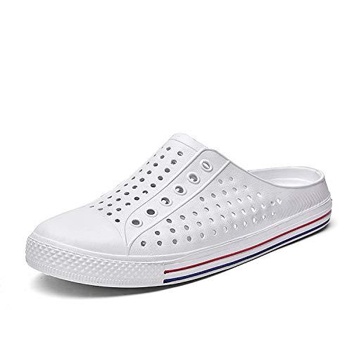 (SAGUARO Men's Women's Garden Clogs Slipper Comfort Beach Walking Shoes Sandal Water Shoes White 12.5 M US Women / 11 M US Men)