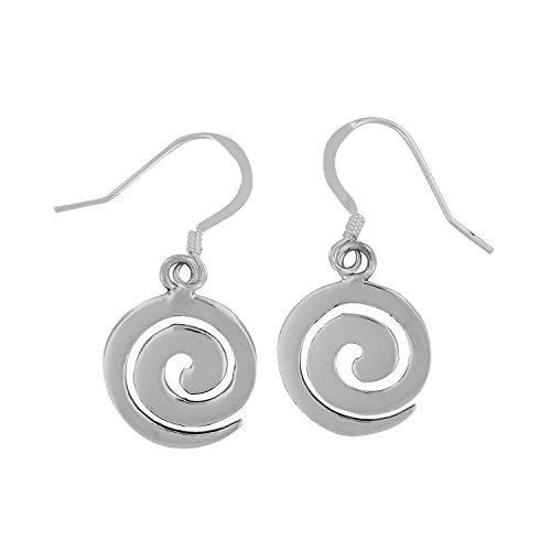 Sterling Silver Swirl Spiral Dangle Earrings (Spiral Earring Dangling)