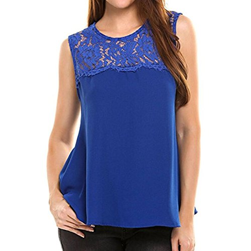 Amanod 2018 discounthotsale Women Chiffon Lace Sleeveless Shirt Blouse Casual Tank - Womens Discount
