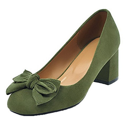 Odomolor Women's Closed-Toe Kitten-Heels Frosted Solid Pull-On Pumps-Shoes Green h75KMdf7