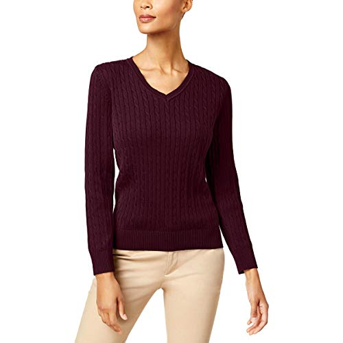 Karen Scott Womens Ribbed Trim Long Sleeves V-Neck Sweater Red L