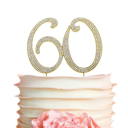 60 GOLD Cake Topper | Premium Sparkly Crystal Diamond Rhinestone Gems | 60th Birthday or Anniversary Party Decoration Ideas | Perfect Keepsake (60 Gold)