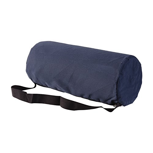 DMI Lumbar Roll Back Support Cushion Pillow - Foam Lumbar Cushion with Cover and Strap, Navy by Duro-Med