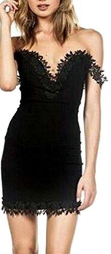 Dresses Neck Sexy Slim Jaycargogo Black Fit Women Bodycon Deep Fashion V Mini EYXxvfqw